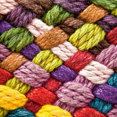 Multi colored woollen yarns — Stockfoto