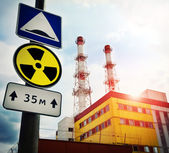 Nuclear Power Plant with Radioactivity Sign — Stock Photo