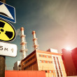 Stock Photo: Nuclear Power Plant with Radioactivity Sign