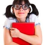 Nerd Student Girl with Textbooks — Stock Photo