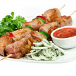 Stock Photo: Tasty grilled meat, shish kebab