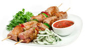 Tasty grilled meat, shish kebab — Stock Photo