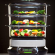 Healthy cooking, steam cooker with vegetables — Stok fotoğraf