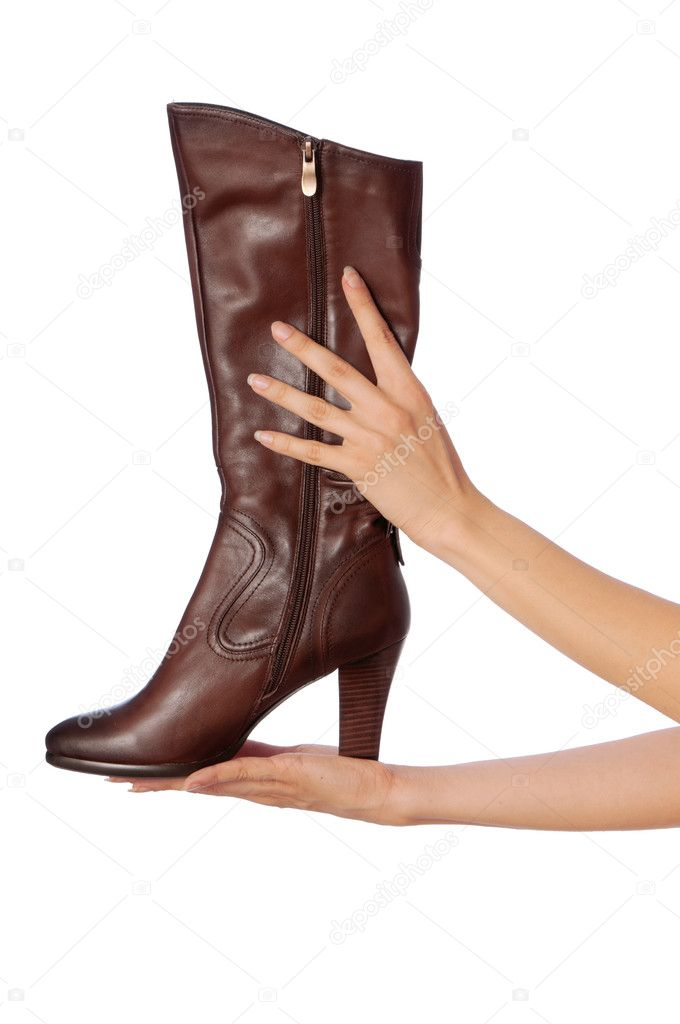 Brown leather high heel stiletto fetish boots — Stock Photo #5410681