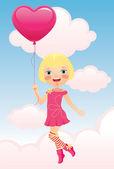 Girl flying a balloon — Stock Vector