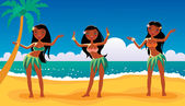 Hawaiian dancing girls — Stock Vector