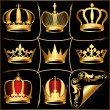 Stock Vector: Set gold(en) crowns on black background