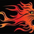 Stock Vector: Infuriated lion in fire