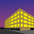 Luminous building on background — Imagen vectorial