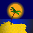 Palm on island at sundown — Stock Vector