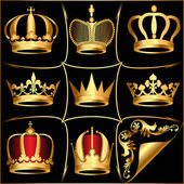 Set gold(en) crowns on black background — Stock Vector