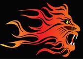 Infuriated lion in fire — Stock Vector