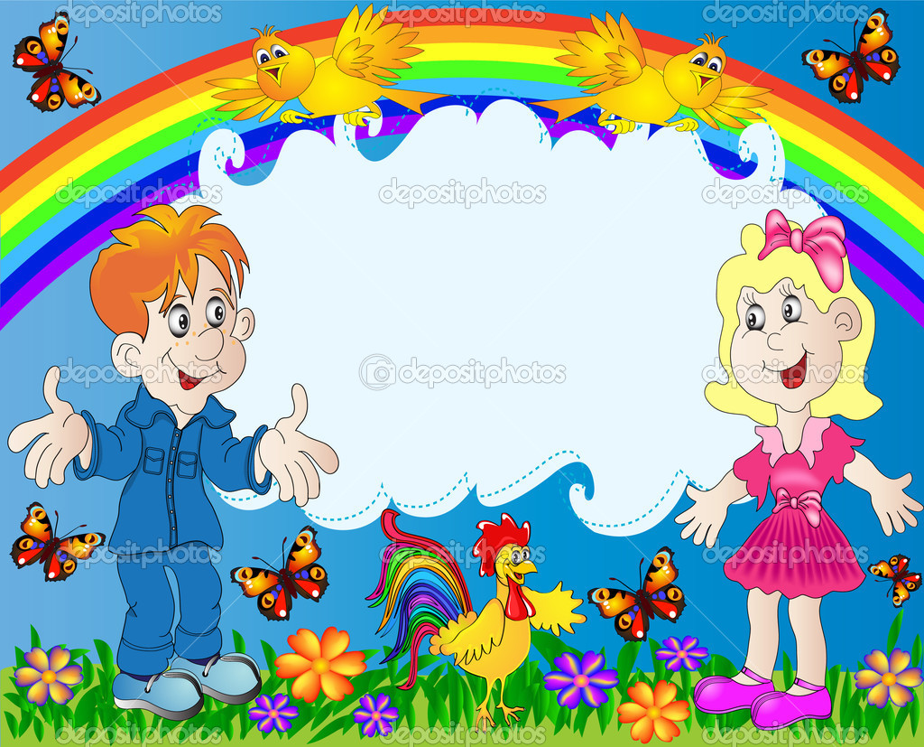 Lucky children on background of the rainbow stock illustration
