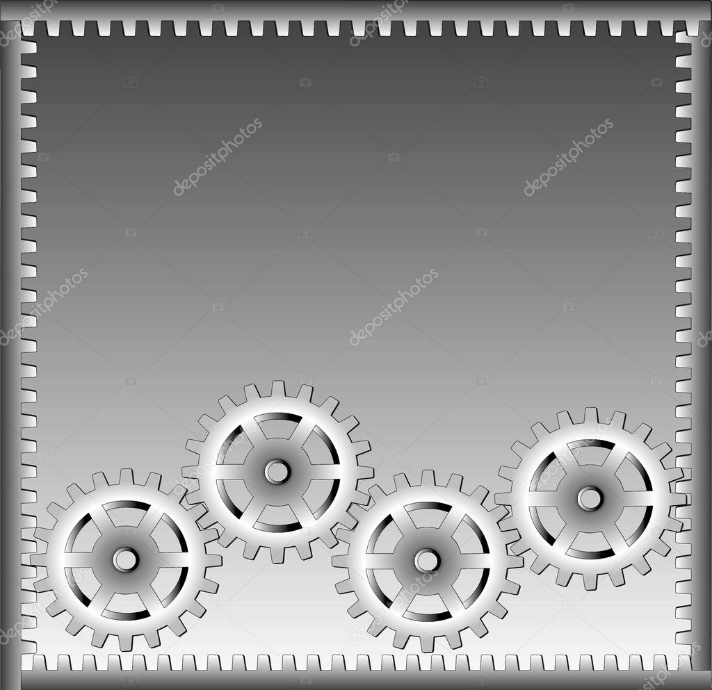 Gear on a grey background for a label. — Stock Photo #5970751