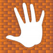 Hand has bent in brick — Stock Vector