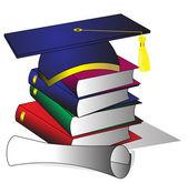 本と卒業証書の帽子を形成 — ストックベクタ