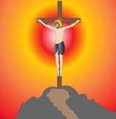 God on cross — Stock Vector