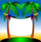 Two parrots on background of the palm — Stock Vector