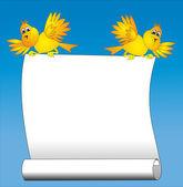2 用紙を保持面白い鳥 — ストックベクタ