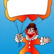 Clown with air ball and message — Stock Photo