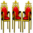 Three chairs of the red colour. - Stock Photo