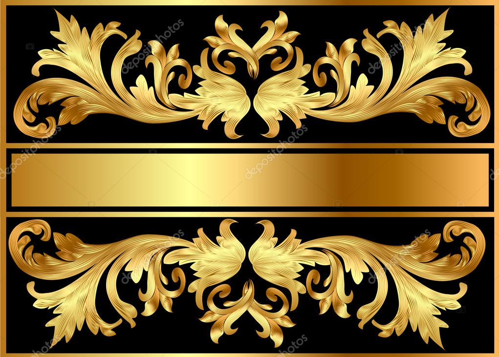  illustration background pattern frame from gild on black background  Stock Vector #6127882