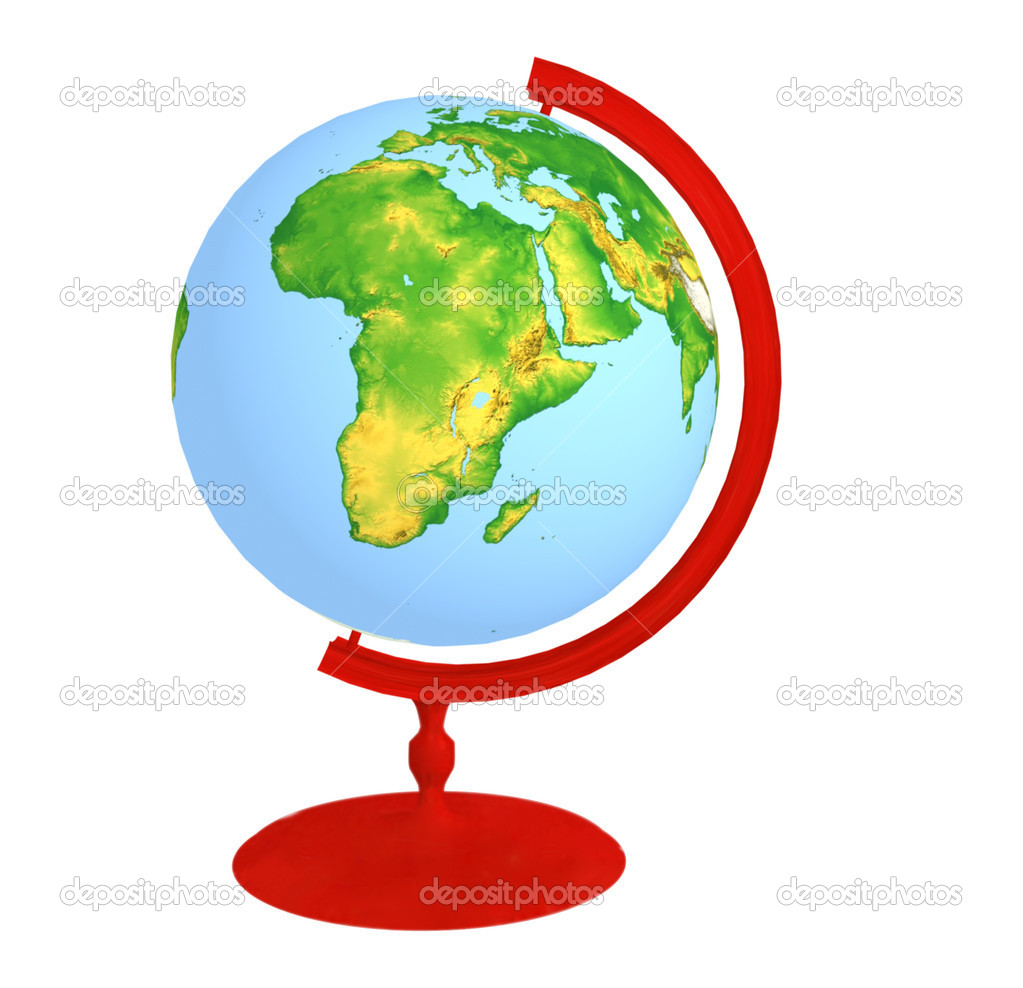  Globe on red stand, insulated on white.  Stock Photo #6130403