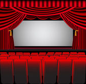 Premises theatre with screen and chair — Stock Photo