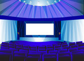 Premises blue theater with screen — Stock Photo