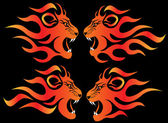 Set illustration infuriated lion — Stock Photo