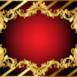 Gold  frame with pattern and band - Stock Photo
