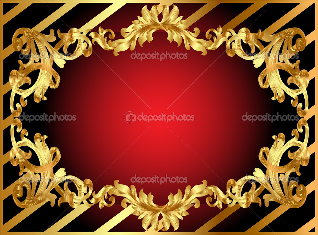 Illustration gold frame with pattern and band — Stock Photo #6269364