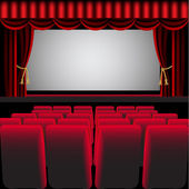 Cinema hall with red curtain and easy chair — Stock Vector