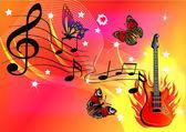 Musica di sottofondo con farfalla chitarra e fuoco — Vettoriale Stock