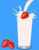 Strawberries falls in milk — Stock Vector