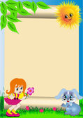 Background child with flower and rabbit — Stock Vector