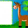 Stock Vector: Frame nursery nice giraffe on background of palms