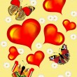 Background with heart butterfly and flower - Imagens vectoriais em stock