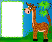 Frame nursery nice giraffe on background of the palms — Stock Vector