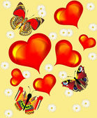 Background with heart butterfly and flower — Stockvektor