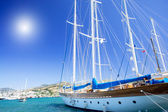 Wonderful yacht in blue bay near Bodrum town. — Stock Photo