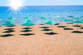 Beach and parasols in resort Turkey. — Stock Photo