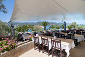 Restaurant and beautiful sea view. — Stock Photo