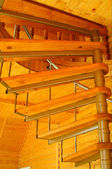 Spiral staircase in the modern wooden house. — 图库照片