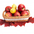 Ripe, juicy apples and lemons in the basket. - Stock Photo