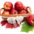 Ripe, juicy apples in the basket. — Foto de Stock