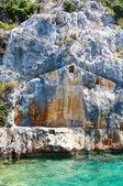 Turkei. ruinen der antiken stadt im meer. — Stockfoto