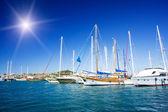 Luxury yacht in azure bay near Bodrum town. — Stock Photo