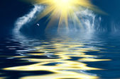 Fantastic image of the sunbeams and blue sky. — Stock Photo