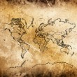 Cracked ancient map of world. — Foto de Stock